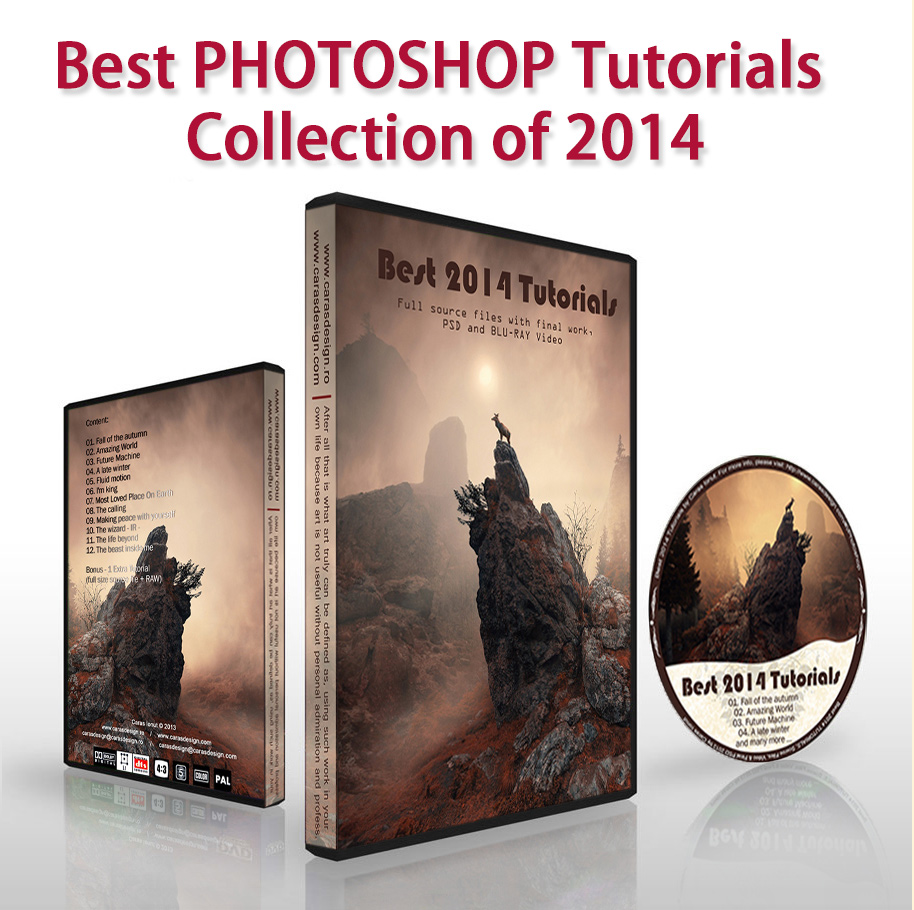 """Best photoshop tutorials collection of 2014"", This collection contain the most 12 exclusive work + 1 BONUS of the 2013. After purchasing this offer, you will receive all 12 tutorial's + 1 BONUS TUTORIAL with full original RAW & JPG files via wetransfer.com but also 1 copy of beautiful printed DL-DVD with all content inside, total size is 7.57 GB. Each tutorial are included JPG + Final PSD at 1200px, all Source file at 2200px, video file 1180 x 720 with at least 01:30 minute length each + 1 Bonus Tutorial with full source file's, JPG + RAW. Total length 22 hours & 20 minute. Free Worldwide shipping."
